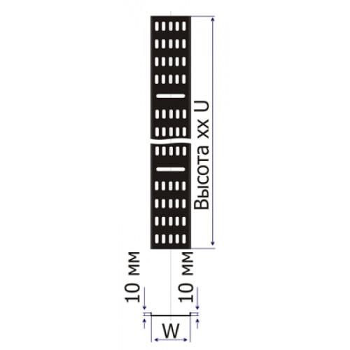 Вертикальный кабельный лоток для шкафов 42U, шириной 100 мм, черный TWT-CB-CTR-42U-1