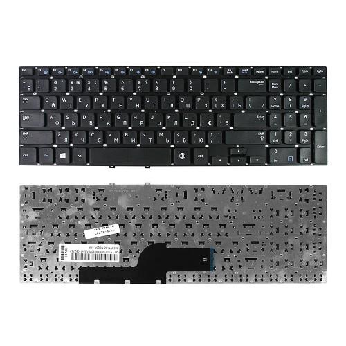 Клавиатура для ноутбука Samsung NP350V5C, NP355E5C, NP355E5X, NP355V5C, NP550P5C Series. Плоский Enter. Черная, без рамки. PN: BA59-03270C.