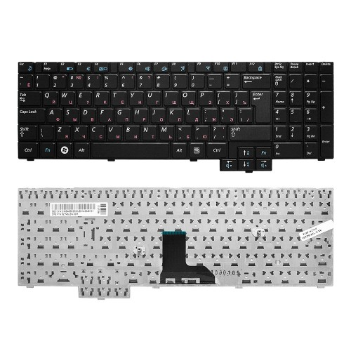 Клавиатура для ноутбука Samsung R525, R528, R530 Series. Г-образный Enter. Черная, без рамки. PN: BA59-02832C.