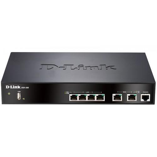 Сетевой экран DSR-500 2 Gigabit WAN ports 4 Gigabit LAN port Support Ipv6 RIP v1/2 NAT PAT