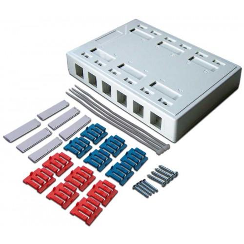 Коробка настенная на 12 кейстоунов, белая, LANMASTER LAN-MB-12K-WH