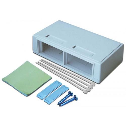 Коробка настенная на 2 модульные вставки, белая, LANMASTER LAN-MB-M4-WH