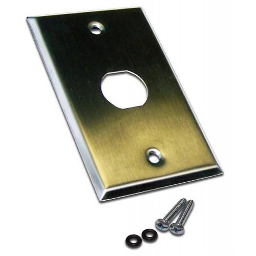 Накладка настенной розетки, 1 порт, нержавеющая сталь, LANMASTER LAN-WPM-1OK