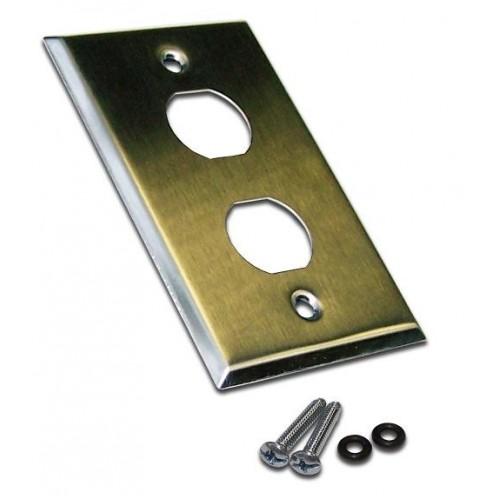 Накладка настенной розетки, 2 порта, нержавеющая сталь, LANMASTER LAN-WPM-2OK