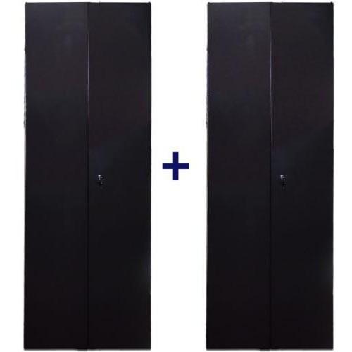 Комплект дверей 42U, 800 мм, черный, передняя - распашная металл, задняя - распашная металл, 2 ЧАСТИ