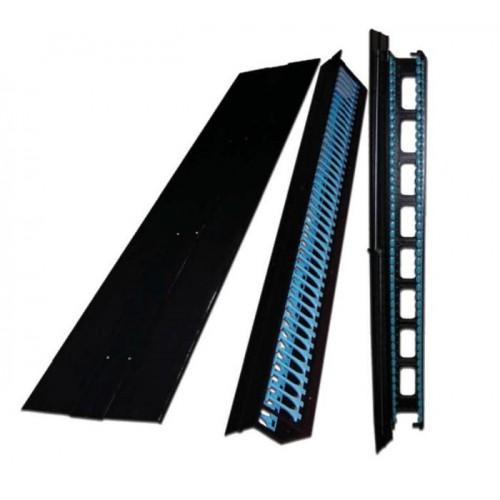 Боковые органайзеры распределительной рамы с боковой панелью, 42U, 150 мм, 2 шт., черные TWT-CBF-SDO-42U