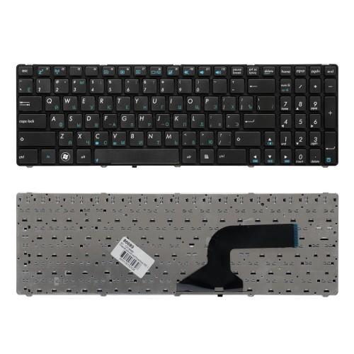 Клавиатура для ноутбука Asus K52, K53, N50, N53, N60, N61, N70 Series. Плоский Enter. Черная, с черной рамкой. PN: NSK-UM0SU, 9J.N2J82.C0R.
