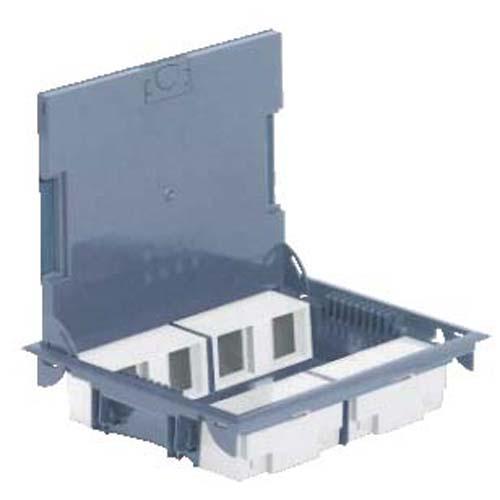 Коробка напольная на 10 модулей с крышкой под ковровое покрытие, глубина 65мм, серая