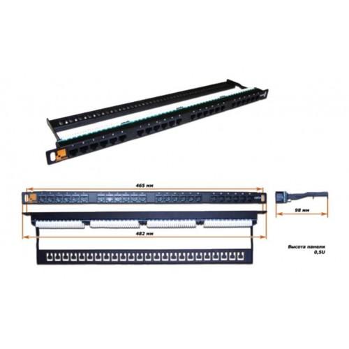 Патч-панель 19, 24 порта RJ-45, категория 6, UTP, 0.5U, компактная,   LAN-PPC24U6