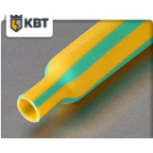Трубка термоусаживаемая ТУТнг-(2:1)-12/6мм, желто-зеленая, не горючая, КВТ