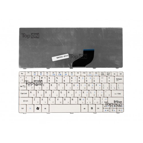 Клавиатура для ноутбука Acer Aspire One 532, 522, D255, D260 Series. Плоский Enter. Белая, без рамки. PN: 90.4GS07.C0R.