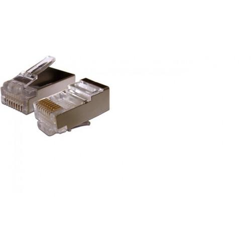 Коннектор RJ-45 8P8C FTP Кат. 6 TWT, экранированный, универсальный, для толстого кабеля, со вставкой, 100 шт. в уп TWT-PL45/S-8P8C-6T