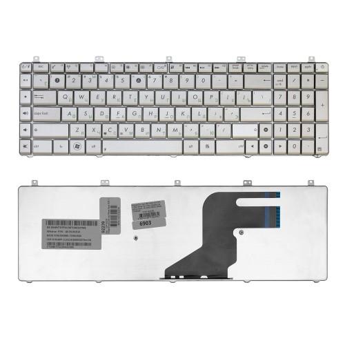 Клавиатура для ноутбука Asus N55, N55S, N75, N75S, X5QS Series. Плоский Enter. Серебристая, без рамки. PN: AENJ5700030.