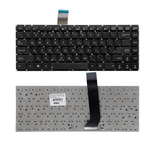 Клавиатура для ноутбука Asus K46CM, S46C, K46C, K46, 46CB, K46CA, S46 Series. Плоский Enter. Черная, без рамки. PN: 0KNB0-4104RU00.