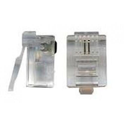 Коннектор телефонный RJ-12 6P2C для розетки, TWT, 100 шт. в упак. TWT-PL12-6P2C/100