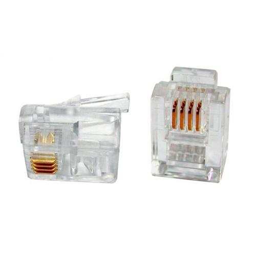 Коннектор телефонный RJ-12 6P4C для розетки, TWT, 100 шт. в упак. TWT-PL12-6P4C/100