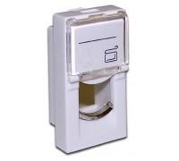 Вставка 22.5х45 на 1 кейстоун, со шторкой, маркировкой, белая, LANMASTER LAN-SIP-22L-WH