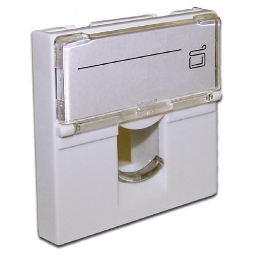 Вставка 45x45 на 1 кейстоун, со шторкой, маркировкой, белая, LANMASTER LAN-SIP-23L-WH