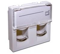 Вставка 45x45 на 2 кейстоуна, со шторкой, маркировкой, белая, LANMASTER LAN-SIP-24L-WH