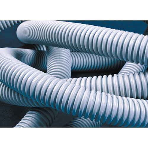 Труба ПВХ гибкая гофр. д.20мм, лёгкая с протяжкой, 100м, цвет серый