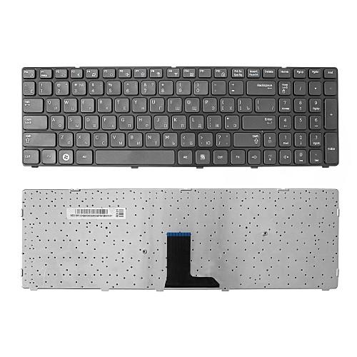 Клавиатура для ноутбука Samsung R578, R580, R590 Series. Плоский Enter. Черная, с черной рамкой. PN: BA59-02680C.