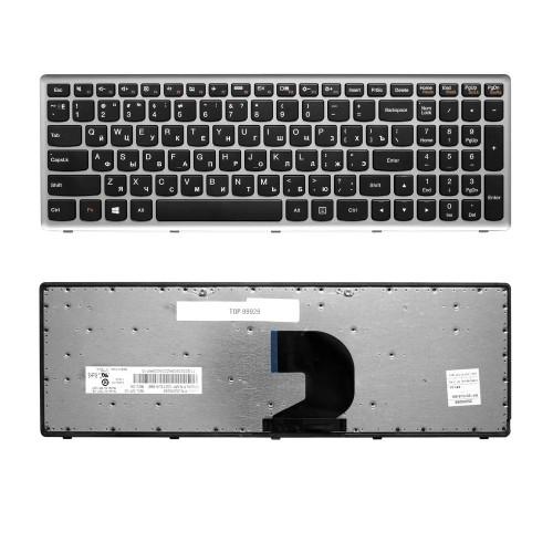 Клавиатура для ноутбука Lenovo IdeaPad IdeaPad P500, Z500 Series. Плоский Enter. Черная, с серой рамкой. PN: 9Z.N8RSC.301.
