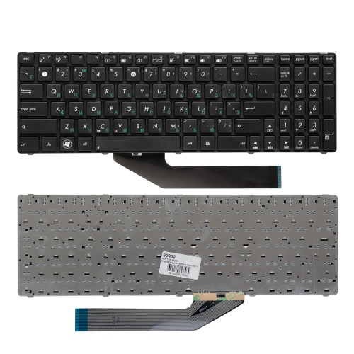 Клавиатура для ноутбука Asus K50, K60, K70 Series. Плоский Enter. Черная, с рамкой. PN: V090562BK1.