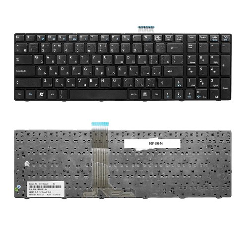 Клавиатура для ноутбука MSI A6200, A6205, A6500, CR620, CR630 Series. Плоский Enter. Черная, с черной рамкой. PN: V111922AK1.